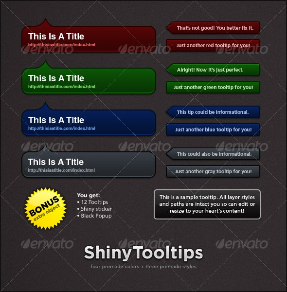 Shiny Tooltips - Web Elements