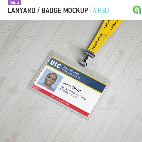 Horizontal Lanyard / Badge Mock-up