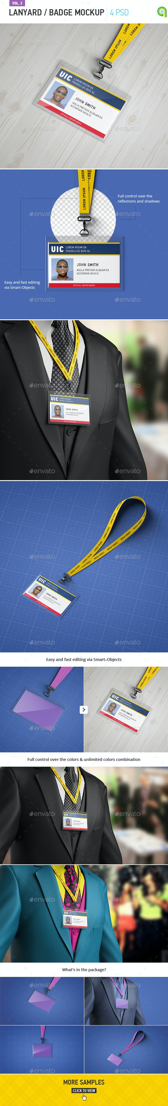 Horizontal Lanyard / Badge Mock-up - Stationery Print