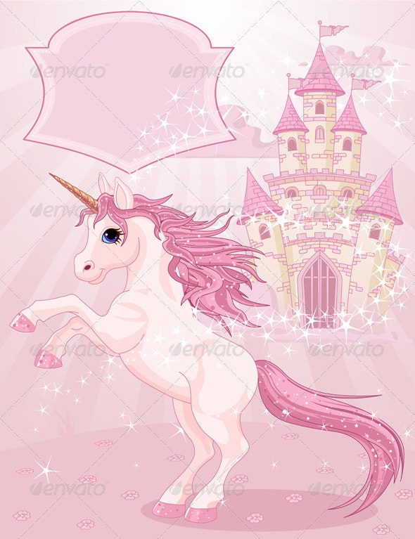 Fairy Tale Castle and Unicorn  - Animals Characters