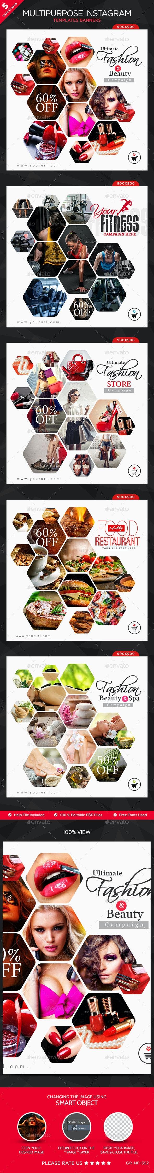 Multipurpose Instagram Templates - 5 Designs - Banners & Ads Web Elements