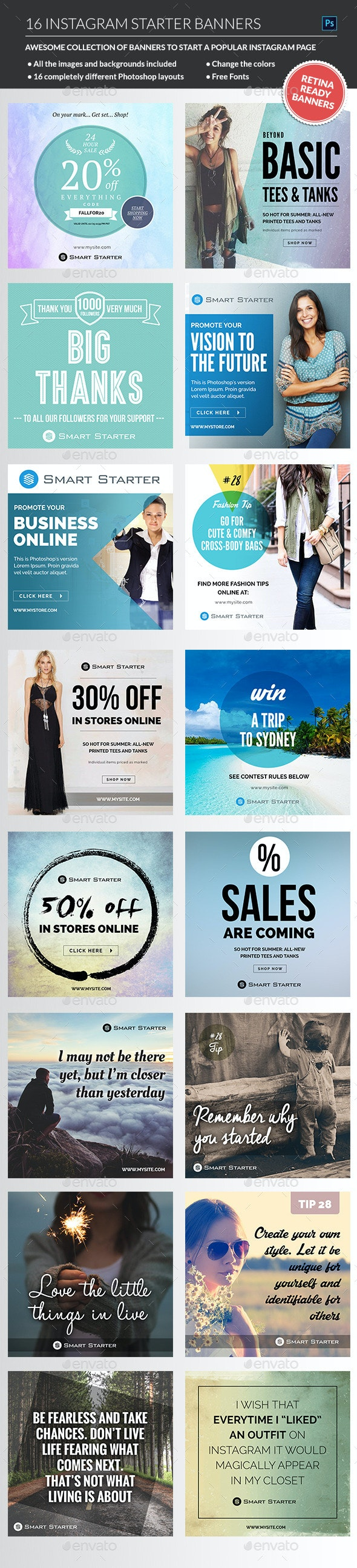 Instagram Banners Package - Banners & Ads Web Elements