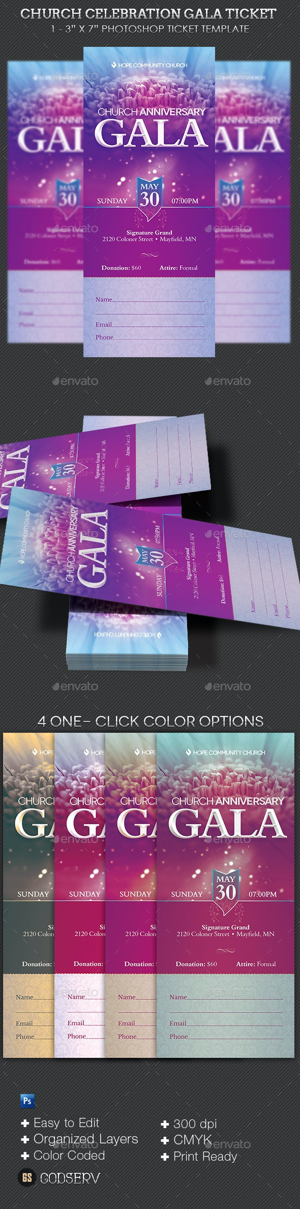 Church Celebration Gala Ticket Template - Miscellaneous Print Templates