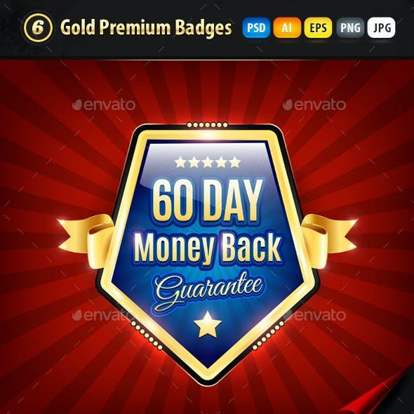 6 Gold Premium Quality Badges