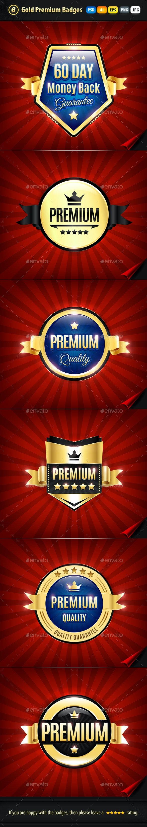 6 Gold Premium Quality Badges - Badges & Stickers Web Elements
