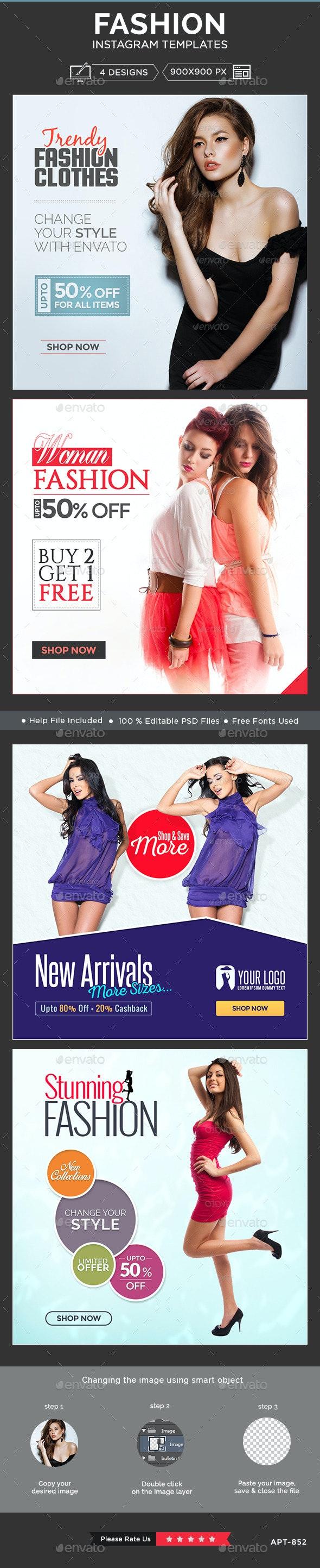 Fashion Instagram Templates - 4 Designs - Banners & Ads Web Elements