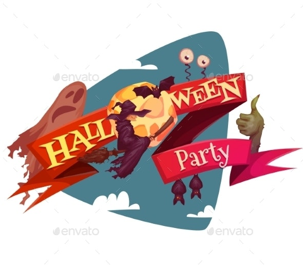 Halloween Party Banner Wih Witch And Moon. Vector - Halloween Seasons/Holidays