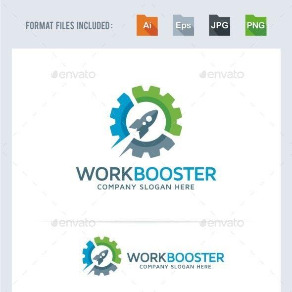 Work Booster - Rocket Gear Logo Template