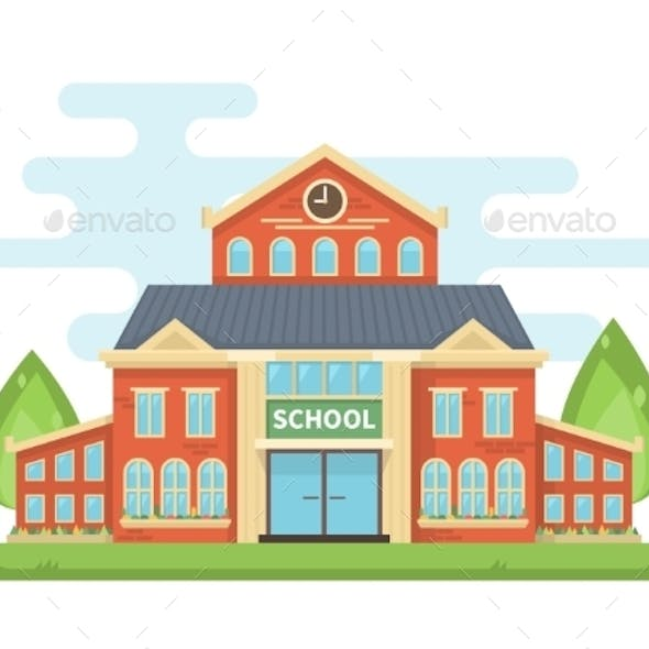School Building Or University With Landscape.