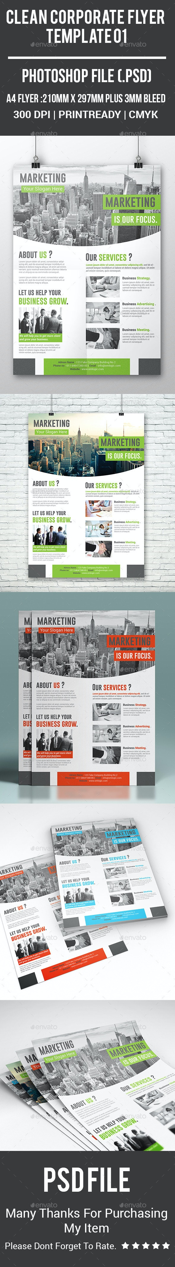 Clean Corporate Flyer Template 01 - Corporate Flyers
