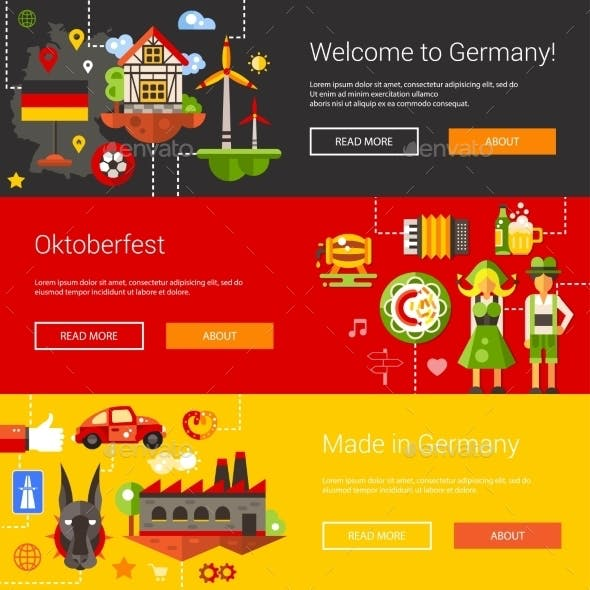 Set Of Flat Design Flyers, Headers With Germany