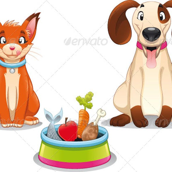 Cat and Dog with food