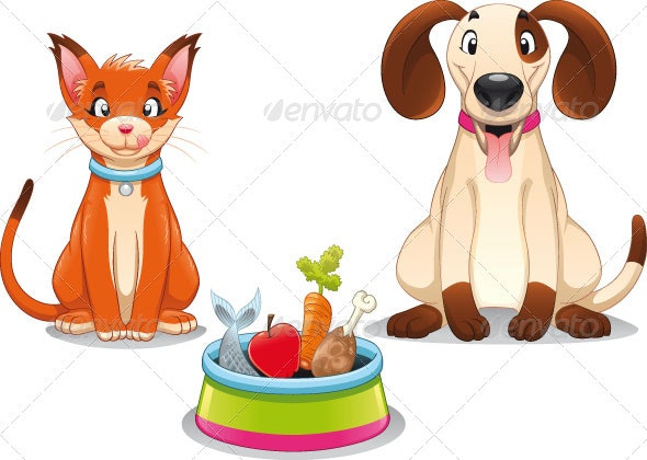 Cat and Dog with food - Animals Characters