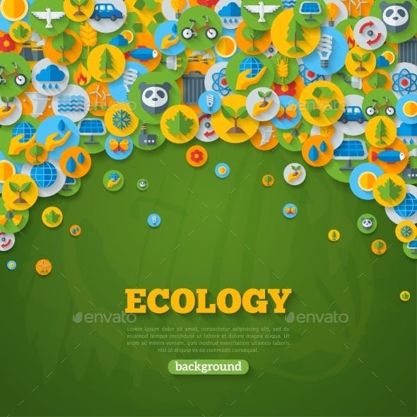 Ecology Background With Flat Icons On Circles.