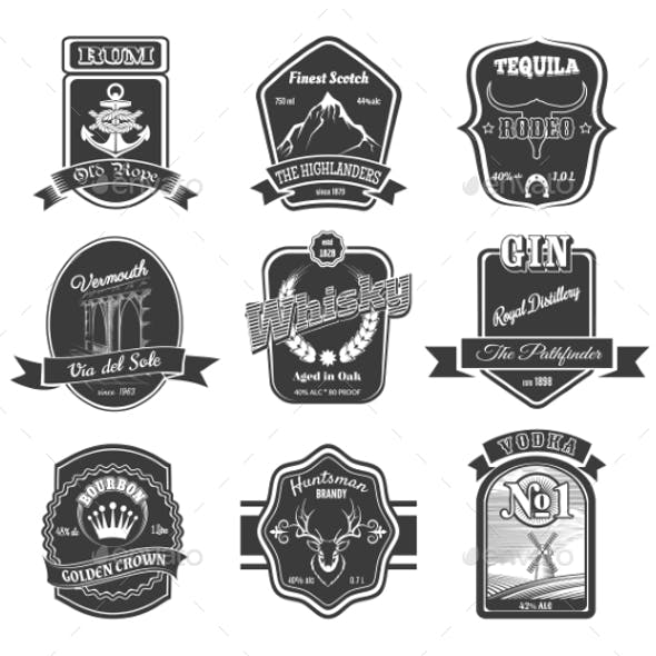 Vector Set Of Vintage Alcohol Labels