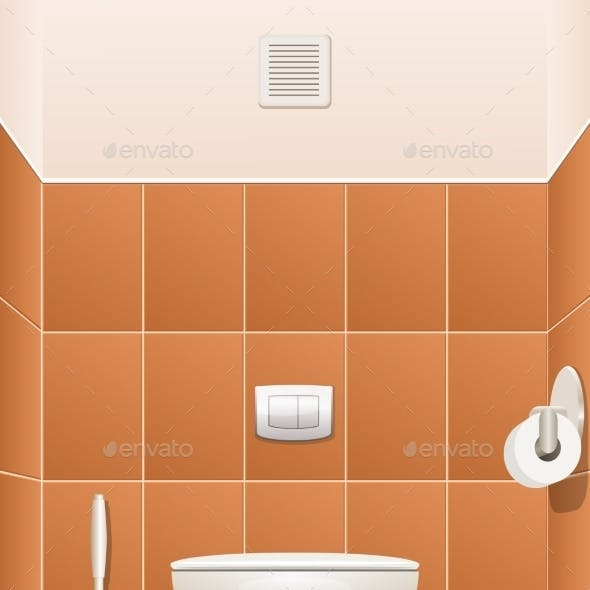 Toilet In a Building Interior. Vector Illustration