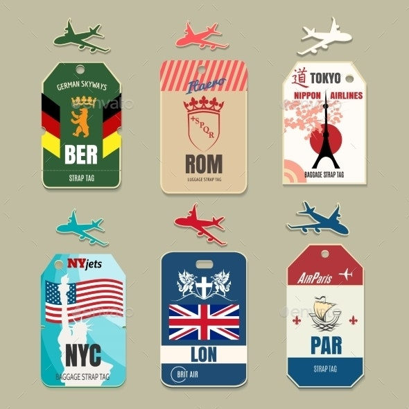 Vintage Luggage Tags - Objects Vectors