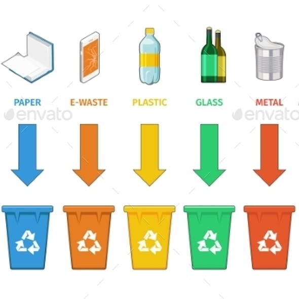 Recycling Bins Separation. Waste Management Vector