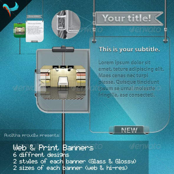 Glass & Glossy Banners for Web and Prints (hanging
