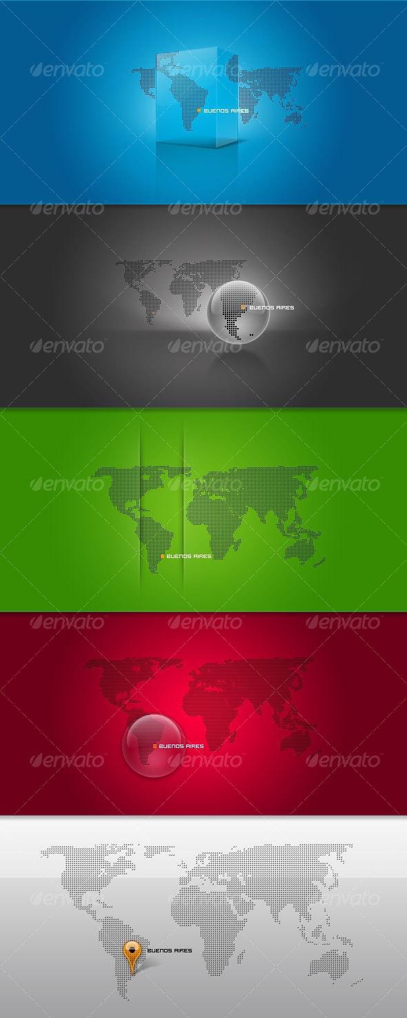 4 Pixel-Based World Maps - Web Elements
