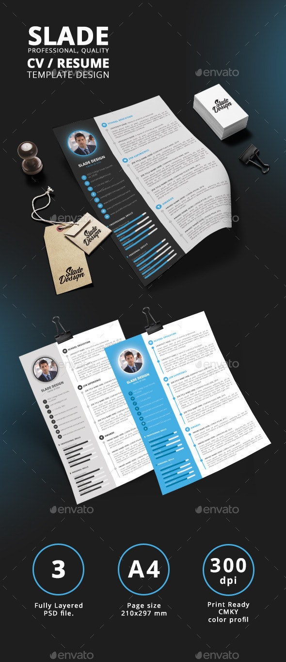 Slade Professional Quality CV / Resume Template - Resumes Stationery