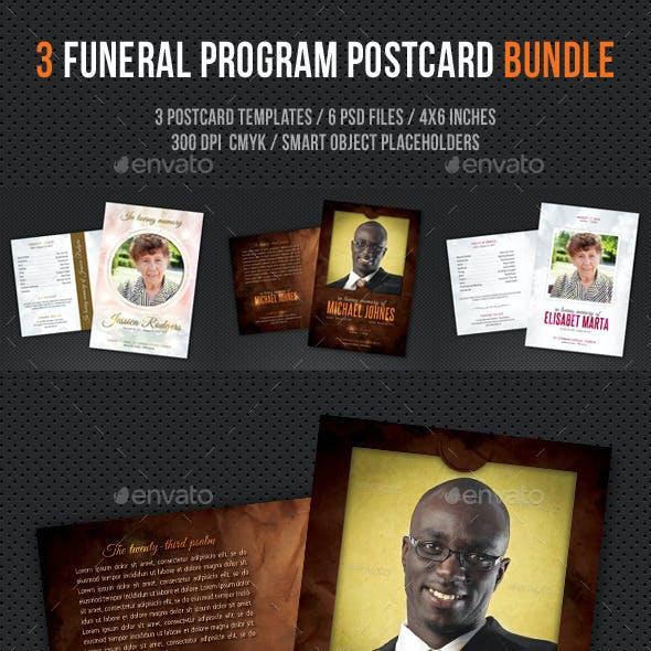 3 in 1 Funeral Program Postcard Bundle