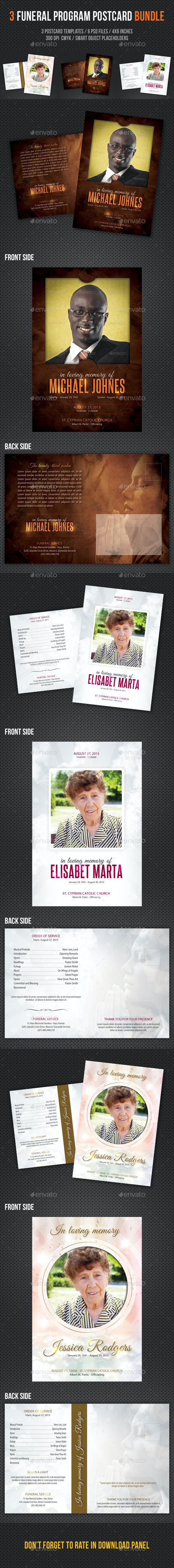 3 in 1 Funeral Program Postcard Bundle - Invitations Cards & Invites