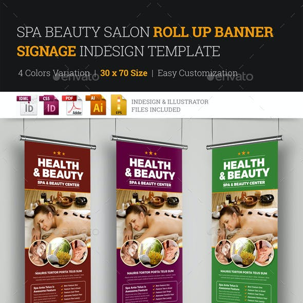 Spa Beauty Roll Up Banner Signage InDesign