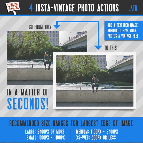 4 Vintage Instant Photo Frame Photoshop Actions