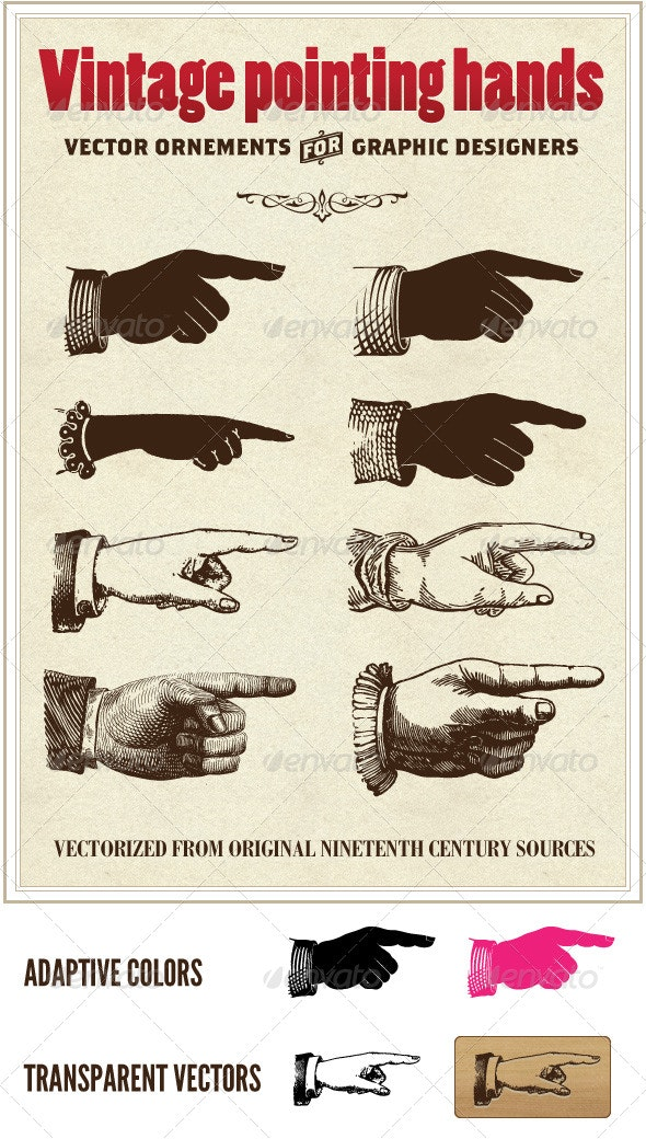 Vintage vector pointing hands - Miscellaneous Characters