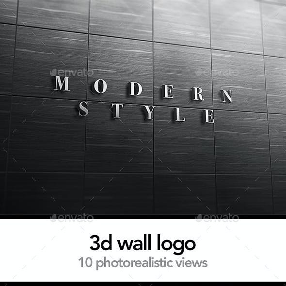 3D Logo Signage Wall Mock Up