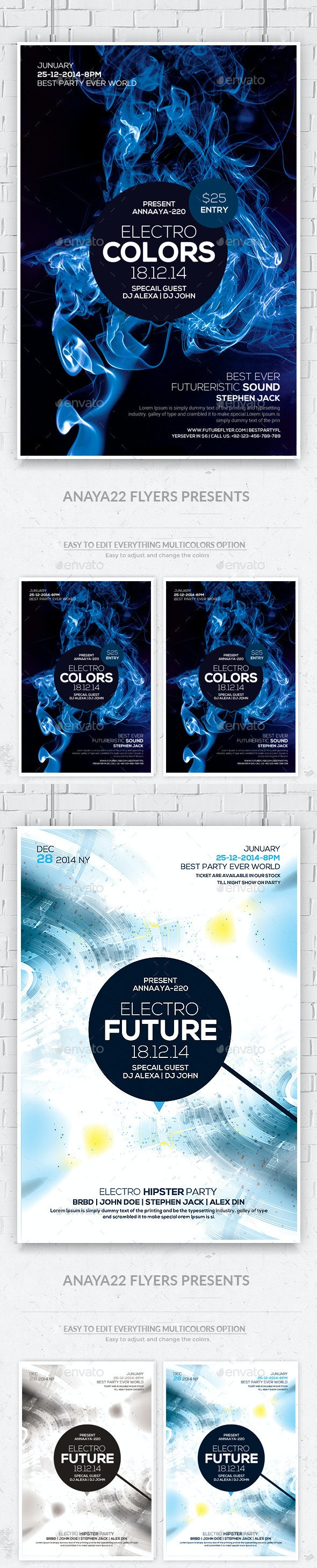 Electro Smoke Futuristic Flyers Bundle - Clubs & Parties Events