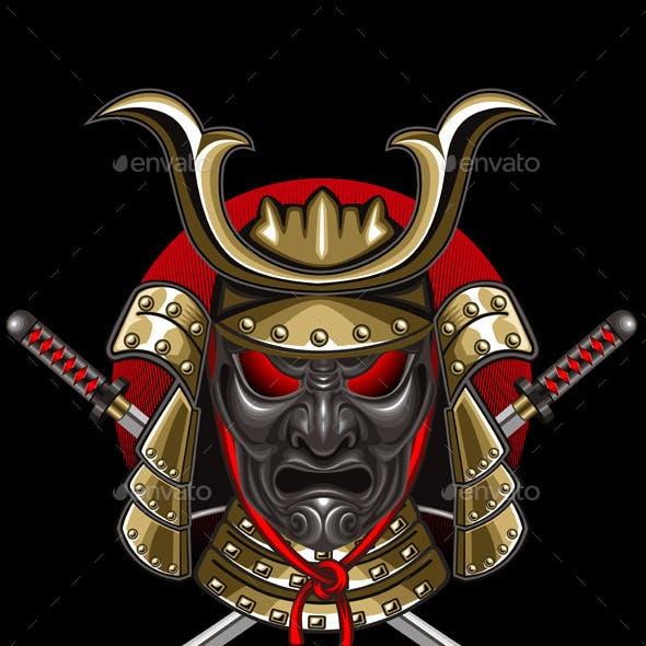 Samurai Mask with Katana