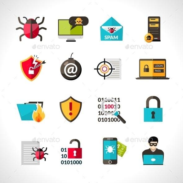 Cyber Virus Icons Set