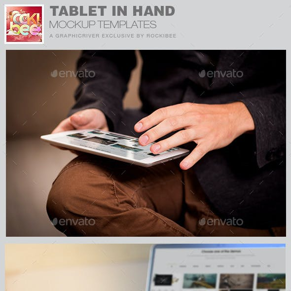 Tablet in Hand Mockup Template