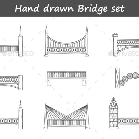 Set Of Outline Cartoon Bridges In Hand Drawn Style