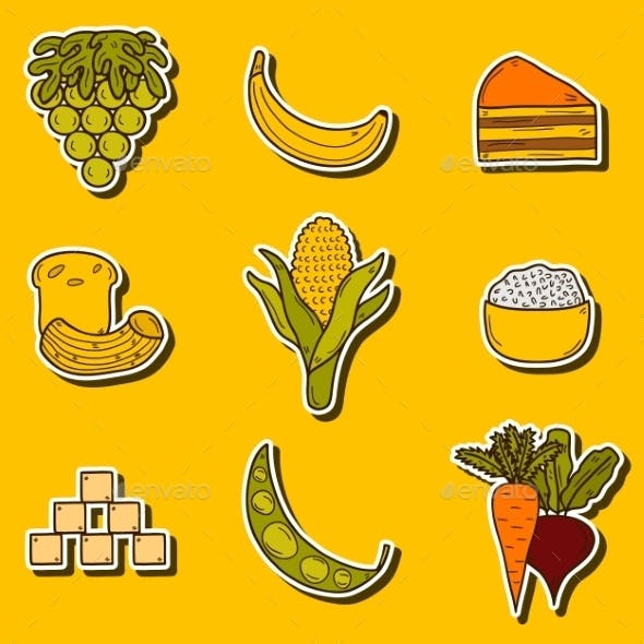 Set Of Stickers With Products
