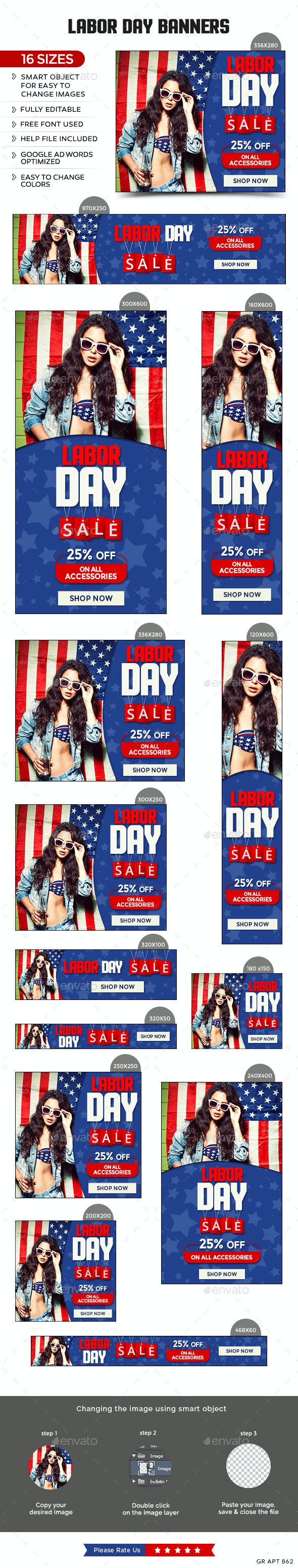 Labor Day Sale Banners - Banners & Ads Web Elements