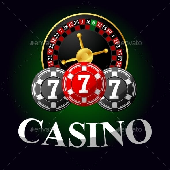 Gambling Icon With Chips And Roulette