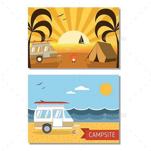 Couple of Beach Trailer Camping Landscapes
