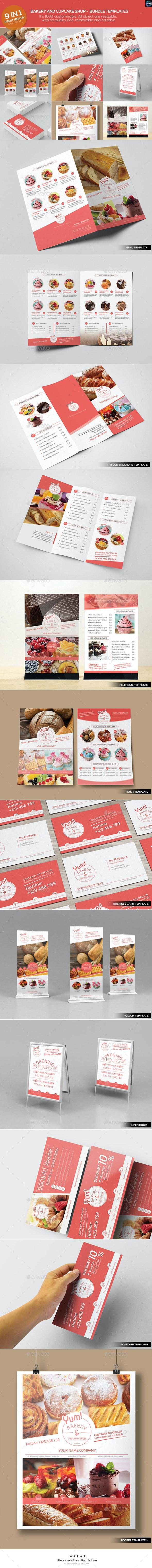 Bakery & Cupcake Shop - Bundle Templates - Food Menus Print Templates