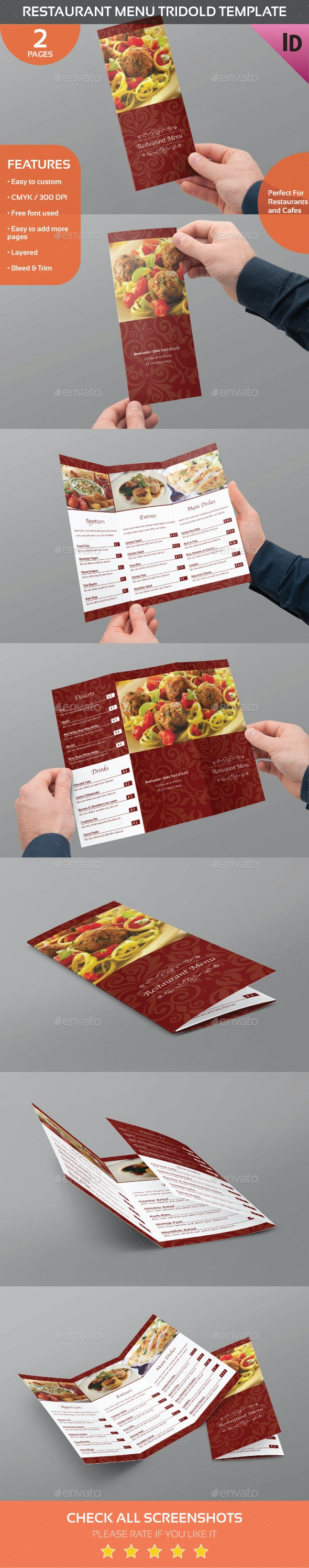 Restaurant Menu Trifold Template - Food Menus Print Templates