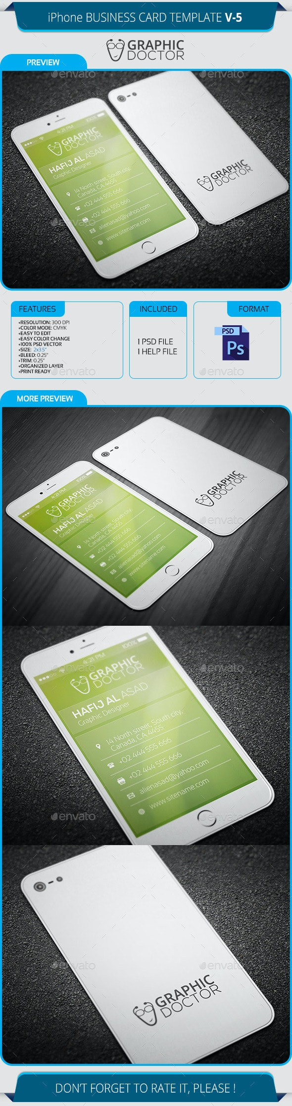 iPhone Business Card Template V-5 - Real Objects Business Cards