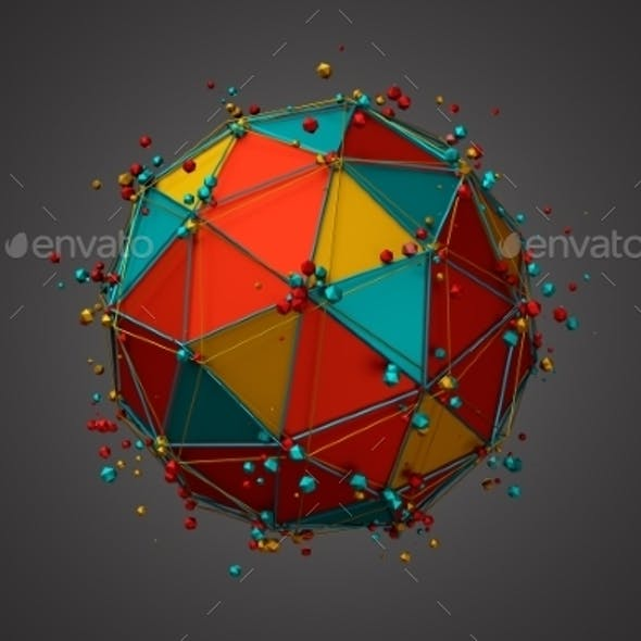 Rendering Of Sphere With Wireframe And Particles.