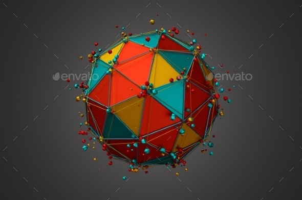 Rendering Of Sphere With Wireframe And Particles. - Abstract 3D Renders