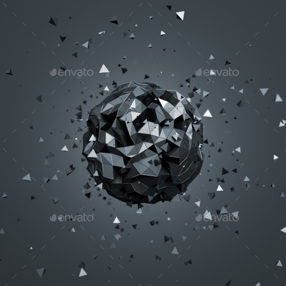 Abstract 3D Rendering Of Low Poly Sphere. - 3D Backgrounds