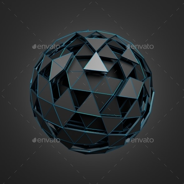 Low Poly Black Sphere With Chaotic Structure. - Tech / Futuristic Backgrounds