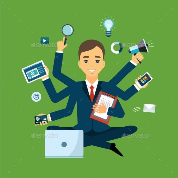 Businessman With Multitasking And Multi Skill