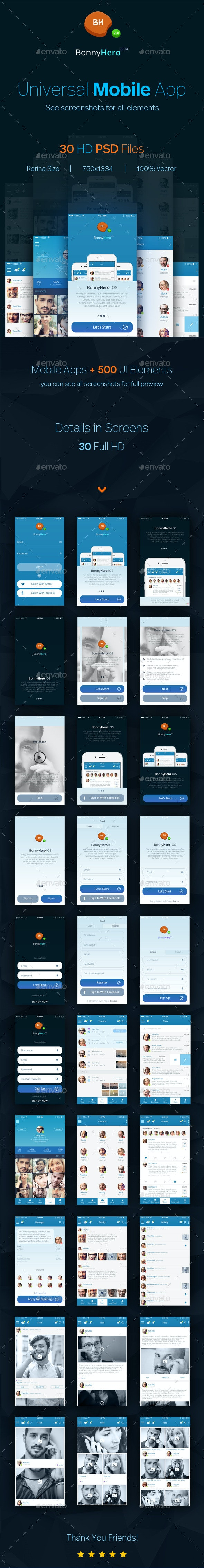 Bonny Hero App | Phone | Mobile UI ver. 2.0 - User Interfaces Web Elements