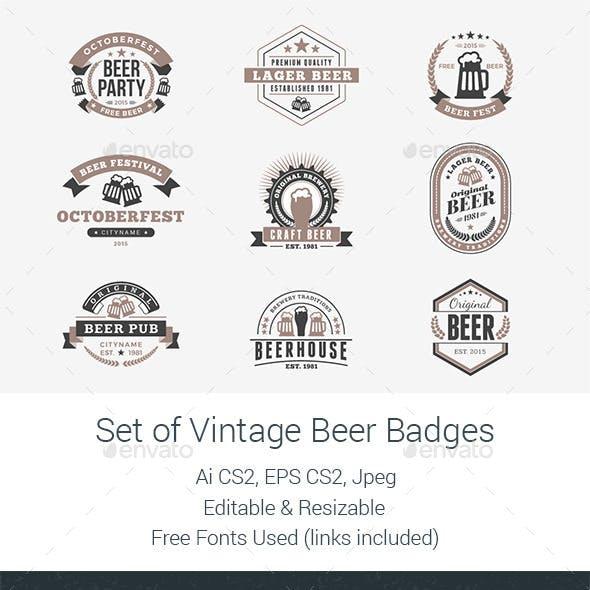 Set of Vintage Beer Badges
